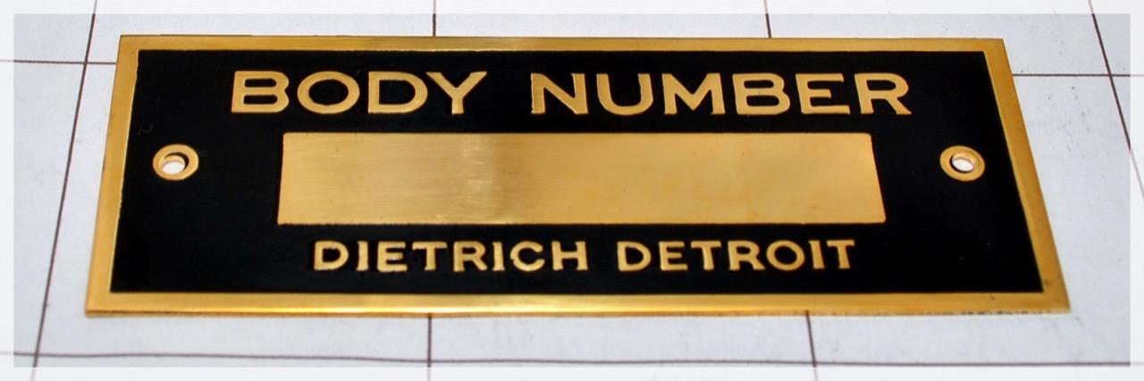 Dietrich Body Number